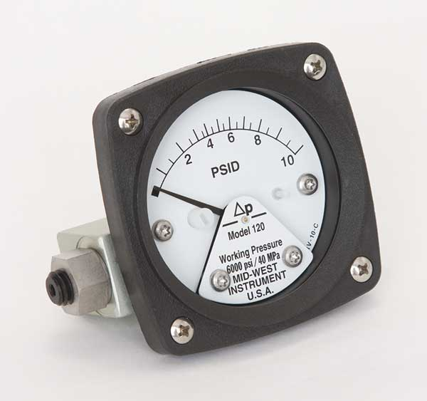 Midwest Instrument Pressure Gauge, 0 to 10 psi 120-SA-00-OO-10P