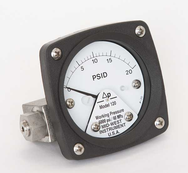 Midwest Instrument Pressure Gauge, 0 to 20 psi 120-SA-00-OO-20P