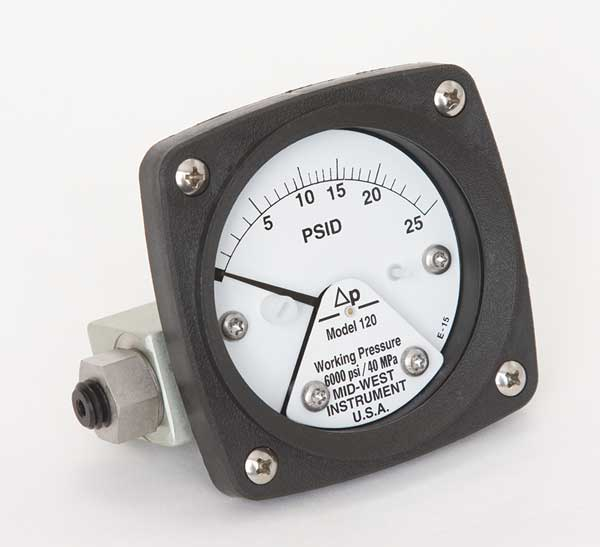Midwest Instrument Pressure Gauge, 0 to 25 psi 120-AA-00-OO-25P