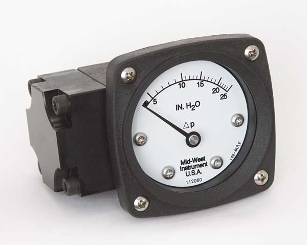 Midwest Instrument Pressure Gauge, 0 to 25 In H2O 142-AA-00-OO-25H