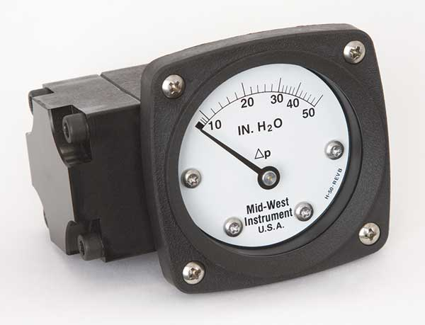 Midwest Instrument Pressure Gauge, 0 to 50 In H2O 142-AA-00-OO-50H
