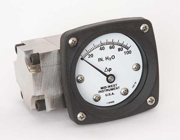 Midwest Instrument Pressure Gauge, 0 to 100 In H2O 142-SA-00-OO-100H
