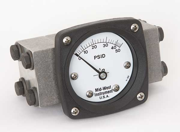 Midwest Instrument Pressure Gauge, 0 to 50 psi 140-SA-00-OO-50P