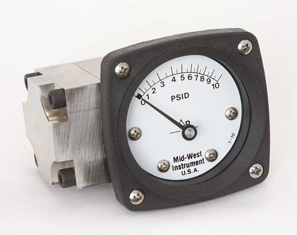 Midwest Instrument Pressure Gauge, 0 to 10 psi 142-SA-00-OO-10P