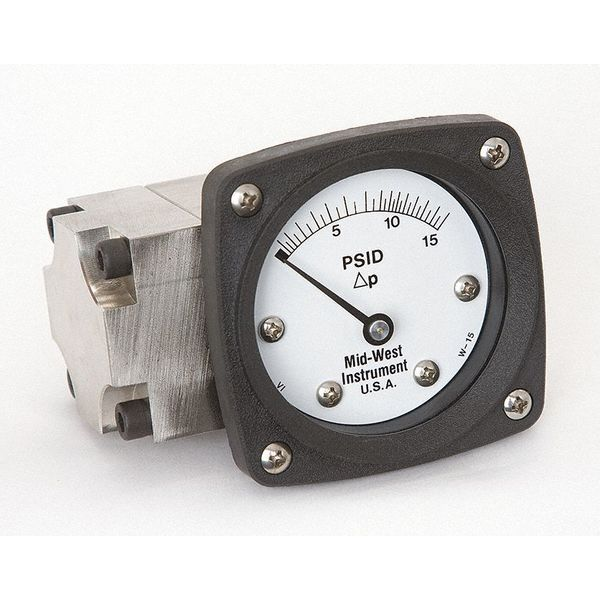 Midwest Instrument Pressure Gauge, 0 to 15 psi 142-SA-00-OO-15P