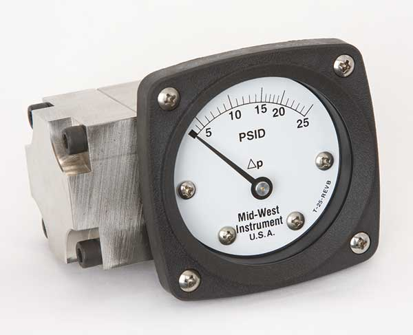 Midwest Instrument Pressure Gauge, 0 to 25 psi 142-SA-00-OO-25P