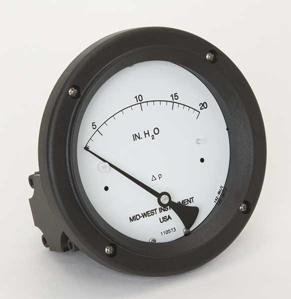 Midwest Instrument Pressure Gauge, 0 to 20 In H2O 142-SC-00-OO-20H