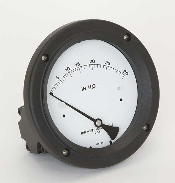 Midwest Instrument Pressure Gauge, 0 to 30 In H2O 142-AC-00-OO-30H