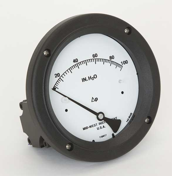 Midwest Instrument Pressure Gauge, 0 to 100 In H2O 142-AC-00-OO-100H