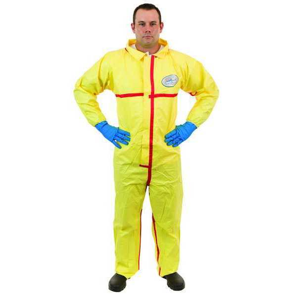 International Enviroguard Collared Chemical Resistant Coveralls ,  3XL ,  Yellow ,  zipper 7012YT-3XL