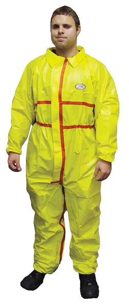 International Enviroguard Collared Chemical Resistant Coveralls ,  L ,  Yellow ,  Chemsplash 1(R) ,  7013YT-L