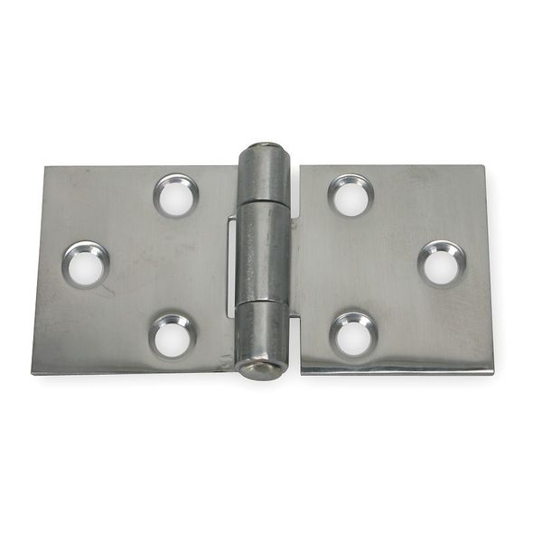 Zoro Select 3 in W x 1 1/2 in H Bright Stainless Steel Door and Butt Hinge 3HTT7