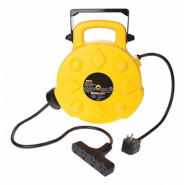 Bayco Products Inc Sl 8904 94 30 Retractable Cord Reel 4 Outlets 120v Ac Voltage Zoro Com