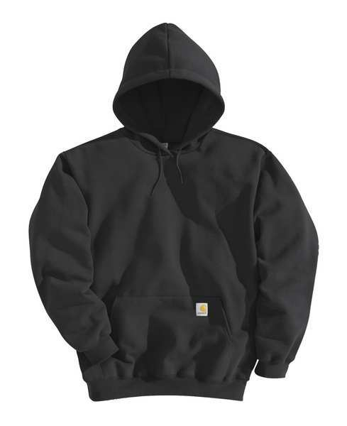 Carhartt Hooded Sweatshirt, Black, Cotton/PET, 3XL K121-BLK 3XL REG