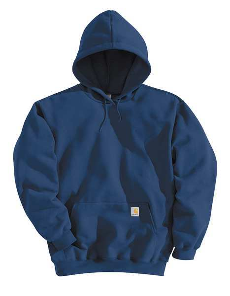 Carhartt Hooded Sweatshirt, Navy, Cotton/PET, 2XL K121-472 XXL REG