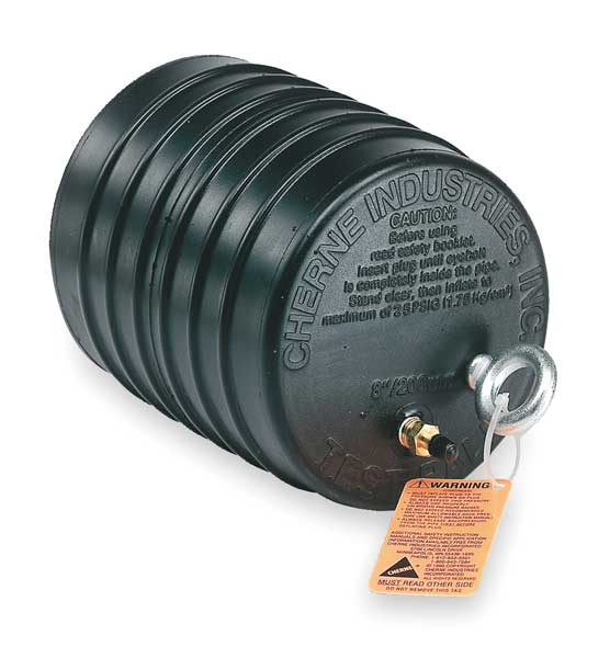 Cherne Industries Test Ball Plug,  Pneumatic,  10 In,  Rubber,  Min. Dia.: 9.00 in 41394