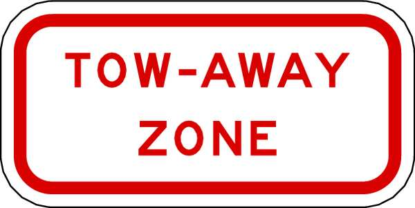 Lyle Tow-Away Zone Parking Sign,  12 in W,  6 in H,  English,  Aluminum,  White R7-201-12HA
