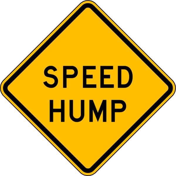 Lyle Traffic Sign, 24 x 24In, BK/YEL, SP Hump W17-1-24DA