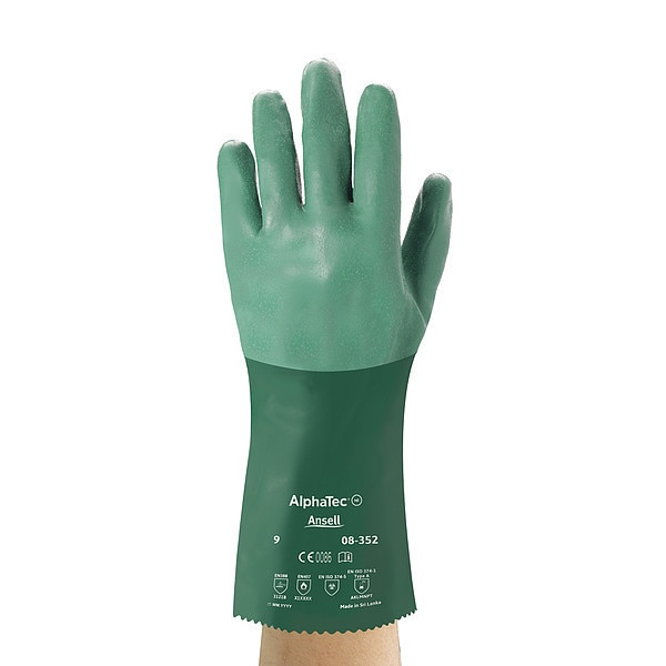"Ansell 12"" Chemical Resistant Gloves,  Neoprene,  8,  1 PR 08-352"
