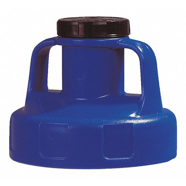 Oil Safe Utility Lid, w/2 In Outlet, HDPE, Blue 100202