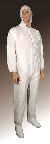 Cellucap Hooded Disposable Coveralls ,  L ,  White ,  polypropylene ,  zipper 55819LGRA