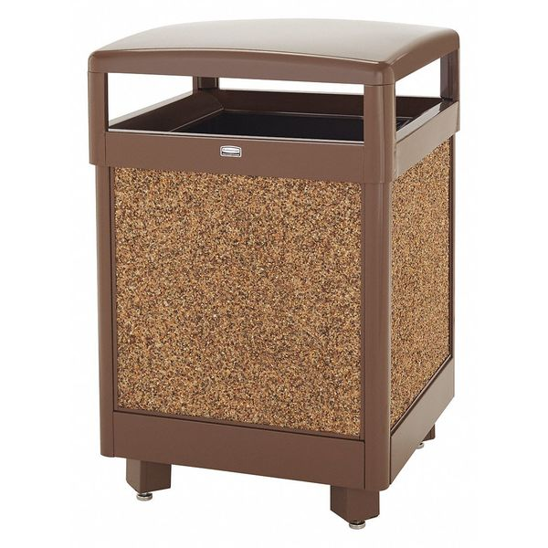 Rubbermaid 45 gal. Steel,  Stone Panel Square Trash Can ,  Beige FGR48HT201PL