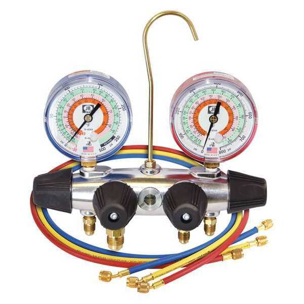 Jb Industries Manifold Gauge,  4-Valve 25233