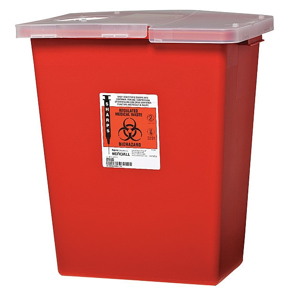Covidien Sharps Container,  8 Gal.,  Hinged Lid,  PK2,  Color: Red SSHL100980