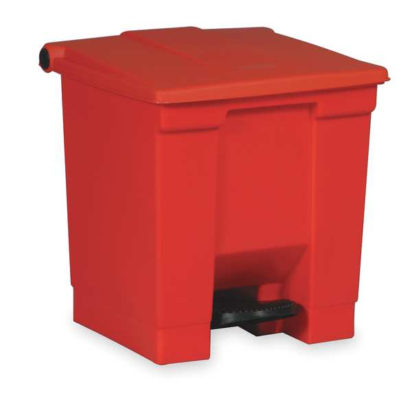 Rubbermaid 8 gal. Plastic Rectangular Trash Can ,  Red FG614300RED