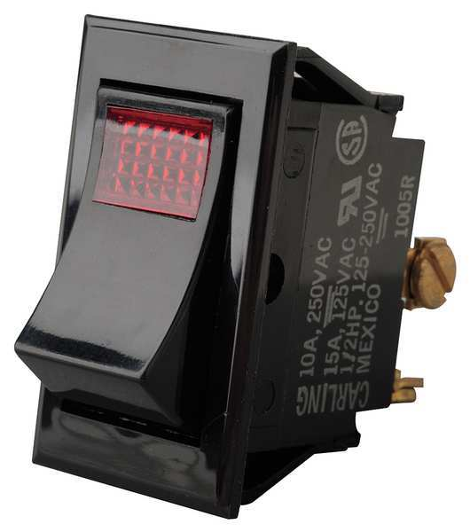 Carling Technologies Lighted Rocker Switch, SPST, 3 Connections LTILA54-6S-BL-RC-NBL/125N