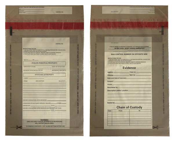 Cortech Evidence Bag, Dual Sided, 12 x 9 In, PK100 C-3-2051