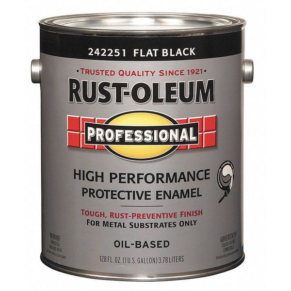 Rust-Oleum 1 gal. Black Flat Latex Interior/Exterior Paint,  Paint Base Type: Oil 242251