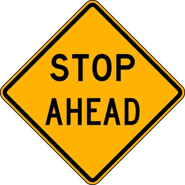 Lyle Traffic Sign, 24 x 24In, BK/YEL, Stop Ahead LW3-1A-24HA