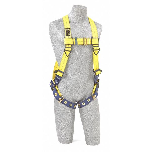 3M Dbi-Sala Full Body Harness,  Vest Style,  XS,  Polyester,  Yellow 1101256