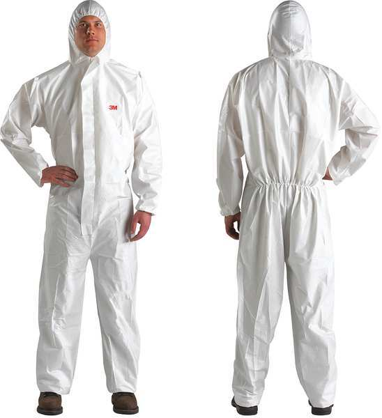 3M Hooded Disposable Coveralls ,  2XL ,  White ,  Microporous Laminate ,  4510-XXL