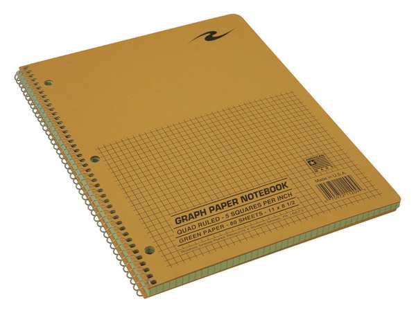 Roaring Spring Wire Notebook,  11x8.5 80 Sht Green-tint Ppr,  5x5 graph 11209