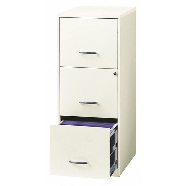 """Space Solutions File Cabinet, 18"""" Deep, 3 Drawer, White 20227"""