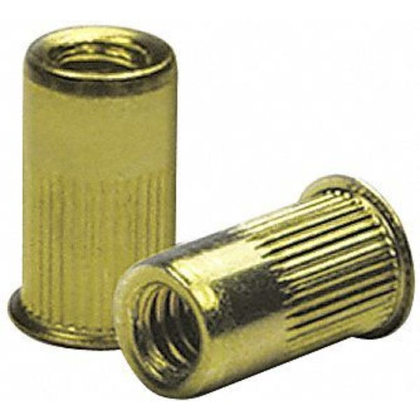 "Zoro Select 1/4""-20,  0.027"" to 0.165"",  Zinc Yellow Steel Knurled Flanged Rivet Nut,  50 pk. CAK2-2520-165-50"
