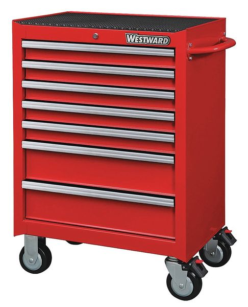 "Westward 26-11/16""W Rolling Cabinet 7 Drawers,  Red,  18""D x 39-7/16""H 32H888"