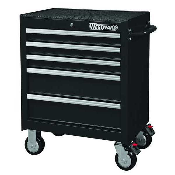 "Westward 26-11/16""W Rolling Cabinet 5 Drawers,  Black,  18""D x 33-5/16""H 32H895"