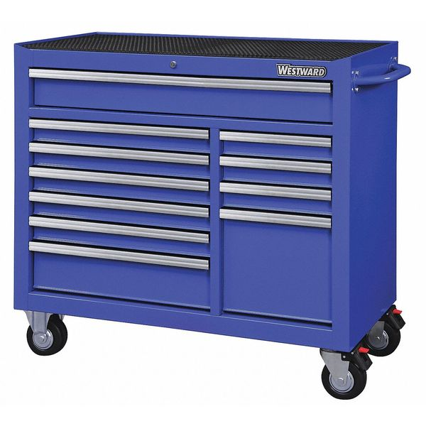 "Westward 42""W Rolling Cabinet 11 Drawers,  Blue,  18-15/16""D x 39-13/16""H 32H857"
