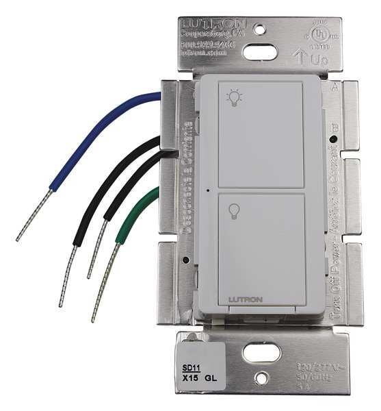 Lutron Wireless RF Switch, 120 to 277VAC, White PD-5S-DV-WH