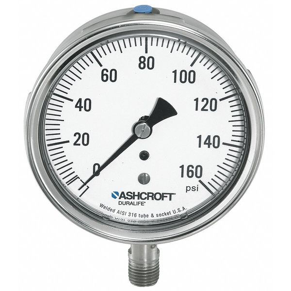 Ashcroft Gauge, Pressure, 0 to 100 psi, 1/4 in NPT 351009SWL02L100#