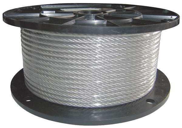 Dayton Cable, 1/8 in. dia., 500 ft., 7 x 7, Vinyl 33RF95
