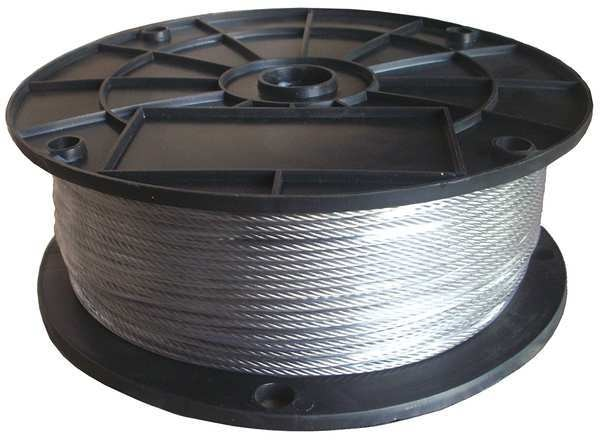 Dayton Cable, 3/8 in, 250 ft, 6 x 37 Class IWRC, SS 33RH11