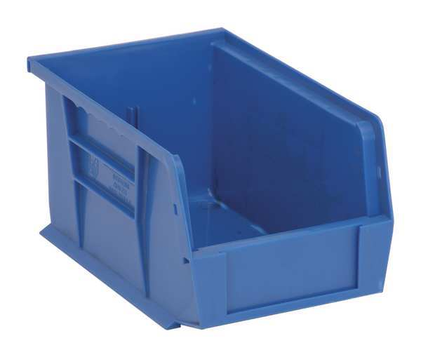 """Quantum Storage Systems Blue Hang and Stack Bin,  9-1/4""""L x 6""""W x 5""""H,  Outside Width: 6 in QUS221BL"""