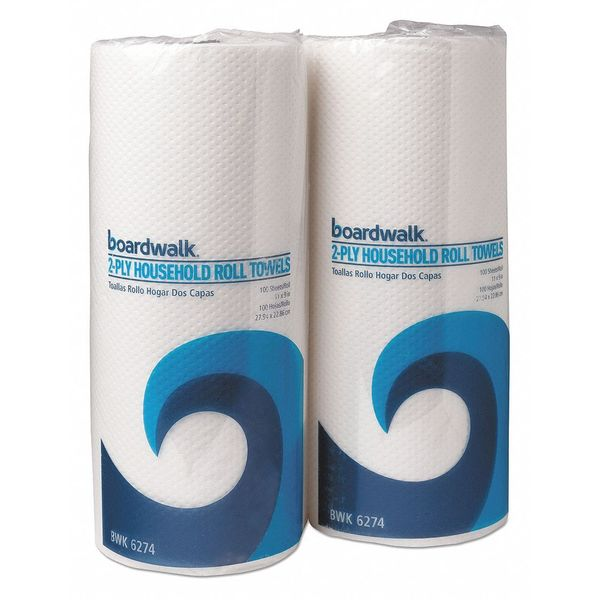 "Boardwalk Roll Towels, 2-Ply, Wt, 9""x11"", 100/RL, PK30 BWK6277"