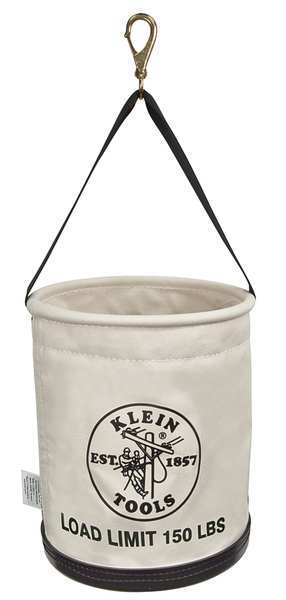 """Klein Tools Straight Wall Work Bucket,  Canvas,  natural,  15"""" Height 5109SLR"""