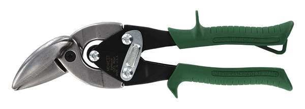 Midwest Snips Aviation Snips,  Right/Straight,  9-3/4 In,  Handle Color: Green MWT-SS6510R