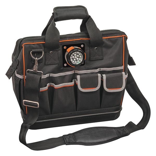 Klein Tools Wide-Mouth Tool Bag,  1680D Ballistic Weave,  31 Pockets,  Black/Orange 55431